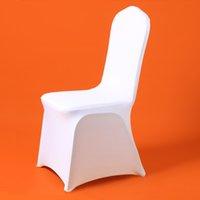 50/100 stücke Günstige Universal Hochzeit Weiße Stuhlabdeckungen REATAURANT BANQUET HOTEL GESCHNEIDEN PARTY LYCRA Polyester Spandex Chair Cover LJ200815