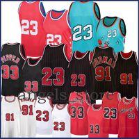 23 Scottie 33 Pippen Basketbol Jersey Dennis 91 Rodman Mesh Retro Formalar Lavanta