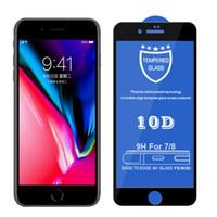 풀 커버 10D 대형 곡선 드롭 접착제 강화 유리 화면 보호기 iPhone 12 11 Pro Max XR XS Max 6 6S 7 8 Plus 100pcs / lot