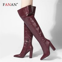 Botas Fanan sobre la rodilla para las mujeres Sexy Pattern Pattern Cuero Largo Alto Tacones Altos Puntos Puntos Black Ladies Shoes Winter1