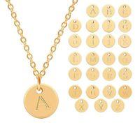 26 Buchstaben Anfang Halskette Silber Gold Rose Gold Farbe Scheibe Halskette Brief Anhänger Halsketten Schmuck Großhandel