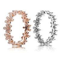 18k Rose Gold \ Silver Dazzling Daisy Prakable Bague empilable Boîte d'origine pour Pandora 925 Sterling Silver Designer Set Ensemble