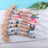 Baby Dummy Pacifier Chain Clip Silicone Beads Beech Letter S...