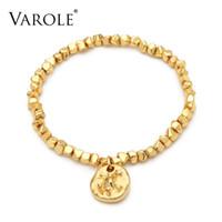Varol esmagado bracelete de bloco dourado femme cor braceletes para mulheres moda jóias amigos presentes