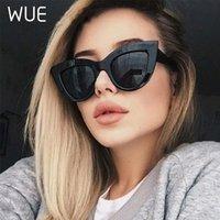 Wue 2020 neue retro dicke rahmen katze auge sonnenbrille frauen damen mode marke designer spiegel objektiv kateye sonnenbrille für weiblich