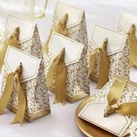10 ADET Yaratıcı Altın Gümüş Şerit Şekeri Parti Hediye Şeker Kağıt Kutusu Düğün Hediye Kutuları Parti Çantası