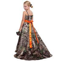 Camo flor meninas vestidos para casamentos espaguete elástico cetim princesa chão comprimento júnior dama de honra vestidos country flor meninas vestidos