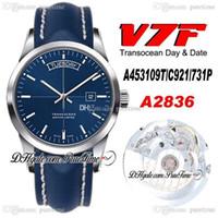 2020 V7F Trapocean Gündüz Tarihi A453109T ETA A2836 Otomatik Erkek İzle Mavi Dial Mavi Deri Beyaz Hat Ile En Iyi Baskı Yeni Ptbl Puretime