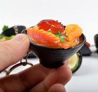2021 Simulation Schlüsselanhänger Nudel Neue Keychain Chinesisches blaues und weißes Porzellan Food Bowl Mini Bag Anhänger # 17169