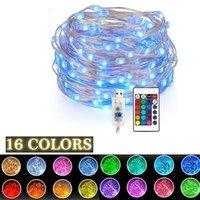 Fée à distance Fairy LED String lumières 16 couleurs USB 5V 5M / 10m Guirlande de Noël Lumière extérieure pour la décoration de fête de Noël de mariage 201006
