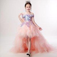 2020 Güzel Altın Kızlar Pageant Elbiseler Halter Boyun Bir Çizgi Boncuk Kristalleri Üst Uzun Toddler Çocuklar Örgün Parti Balo Abiye Çiçek Kız Giyim