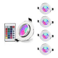 Downlights, LED Recessed Lighting 3 polegadas, 3W luzes RGB Downlight Retrofit aparelho, 16 cores mudando a luz do teto