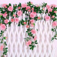 Fengrise 인공 꽃 매달려 장식 장미 포도 나무 식물 홈 장식 웨딩 장식을위한 인공 꽃 화환을 나뭇잎