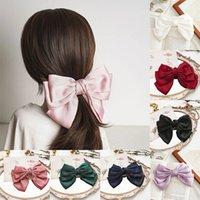 Sweet Coll Color Big Bow Hairpins для девочек Мода Зажимы для волос Женщины Три слоя Сатин Волнистые Волосы Аксессуары для волос Головные уборы