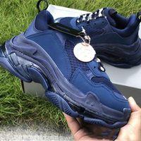 جديد triple s 3.0 السببية الأزرق اللون الأحذية رجل المرأة الأصل مصمم أفضل جودة schoenen النساء مصمم الأحذية mendesigner بغل