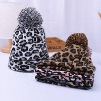 Kadınlar Kış Leopar Örme Şapkalar Moda Pom Pom Beanies Sıcak Yün Örme Var Kapornet Pom Beanie Kapaklar Parti Şapkalar Malzemeleri 4styles ZZC2315