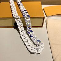 50 cm Zincir Kolye Mavi Gökyüzü Beyaz Bulut Dikiş Cilalı Zincir Yapma Kolye Yüksek Kaliteli Titanyum Çelik Kolye Takı Kaynağı Kutusu