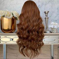Menschliches Haar Lace Front Perücken Körperwelle 360 Spitze Frontal Human Haare Perücken Kastanienbraun 180Density Glueless volle Spitze WI