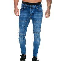 Мужские джинсы вымытые джинсовые мужские брюки скинни хип-хоп уличная одежда лоскутная синяя тонкий стрейч-байкер карандашный брюк