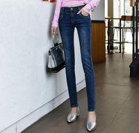 Jeans de mujer Súper tamaño Slim Pies Pantalones otoño azul oscuro