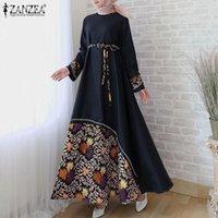 Повседневные платья Zanzea Женщины старинные с длинным рукавом Цветочные напечатанные Maxi Sundress Осень Дубай Мусульманский Хиджаб Платье Rete Vestido Caftan Marocain