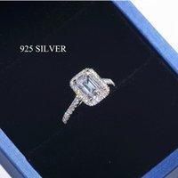 Handmade Emerald Cut 2CT Лаборатория алмазное кольцо стерлингового серебра 925 стерлингового серебра свадебные кольца для женщин Bridal Fine Party Jewelry Y1119