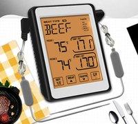 Dokunmatik Ekran Çift Probe Dokunmatik Dijital BARBEKÜ Termometre Pişirme Et Gıda Fırın Izgara Sigara İçekli Mutfak Probu Sıcaklık Zamanlayıcı Alarm