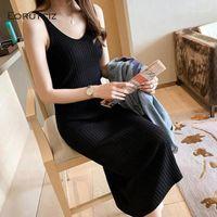 عارضة فساتين eorutciz الربيع فستان ماكسي المرأة ضئيلة مثير طويل الأساسي الخريف الحياكة vestidos LM7131