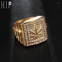 Anneaux de cluster HIP HOP GLING BLING Bague en acier inoxydable en acier inoxydable Micro pavé strass pour hommes bijoux1