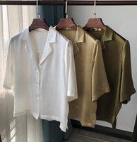 Frauen-Hemd-Weinlese-Klage-Kragen-Pearl glänzend Kurzarm-Seidenhemd