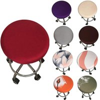 2021 라운드 의자 커버 바 의자 덮개 탄성 시트 홈 의자 슬립 커버 라운드 바 의자 꽃 인쇄