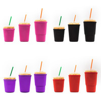 5 Цветов Многоразовый замороженный кофейной гильзовый гильзовый гильзовый гильзовый рукав 20 унций 20 унций 16 унций для холодных напитков напитки Напитки неопреновая чашка чашки крышки 133 N2