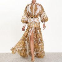 Banulina 2020 Runway Designer mulher Maxi Vestido Alto Cintura Suff Sheve Sashes Ouro Floral Impressão Único Vestido Longo Split Split