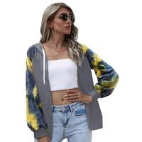 여성용 후드 스웨터 Womens Hoodie 여성 넥타이 염료 긴 소매 재킷 Drawstring 컬러 블록 우편 스웨터 캐주얼 스타일