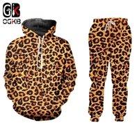 OGKB Vendendo Casual 2 Peça Terno Novo Animal Impressão 3D Leopard Imprimir Harajuku Hoodie Hoodie e Calças Jogging Grande Atacado 201130