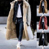 Mandylandy Winter Mens Jacket Cardigan Revers Long Jas Wol Warm Winddichte Overjas Bont Kraag Jas