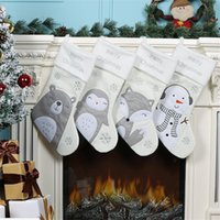 NEW Christmas Stocking Christmas Hanging party Decoration Xmas candy bags Cute cartoon cat and Dog Xmas socks kids party favor gift C11