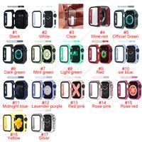 الملونة pc الصلب حالة الوفير مع الزجاج المقسى ل iwatch 1 2 3 4 5 حماية كاملة يغطي 38 ملليمتر 40 ملليمتر 42 ملليمتر 44 ملليمتر watchband في صندوق البيع بالتجزئة