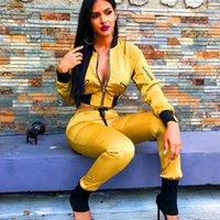 Yiciya Iki Parçalı Kadın Kırpma Üst Ve Kargo Pantolon Set Bombacı Ceket Kaban Joggers Bayan Takım Kıyafetler Eşleştirme Setleri Eşofman
