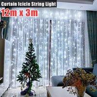 無料配達12m x 3m 1200-LED 110V暖かいライトロマンチックなクリスマスの結婚式の屋外装飾カーテンライト米国の標準
