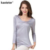 Женская футболка 100% чистый шелковый с длинным рукавом футболки женские о-образные вырезы женские базовые дикие дна-тройники Femme рубашка