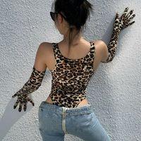 Mulheres Sexy Bodysuit Sem Mangas Romper Top Leopard Impresso Longa Luvas Jumpsuit Set Femme Macacão Party Club Moda Roupas