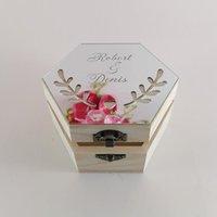 هدية التفاف مخصص شخصية فارغة هندسية الاكريليك الخشب الكنز مربع الخطوبة خاتم الذهب ريفي المجوهرات الزفاف