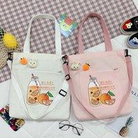 Fashion Pink Blanco Lindo Venta al por mayor Nuevo Bolso de lienzo Literatura y arte Hombro Hombro Crossbody para mujeres Niñas