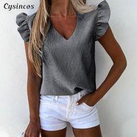 여성용 블라우스 셔츠 Cysincos 줄무늬 인쇄 V 넥 루프 블라우스 셔츠 여성 2021 여름 나비 소매 캐주얼 사무실 레이디 탑스