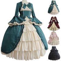 Ortaçağ Retro Gotishli Mahkeme Elbise Kraliyet Lady Topu Elbise Kare Boyun Sıkı Bel Ilmek Kadınlar Zarif Kostüm Vestido Ropa Muj