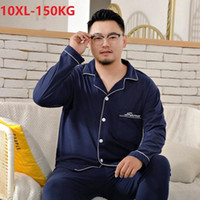 Hommes Pajamas Ensembles 100% Coton Casual Chrot Home Sleep Heightwear Plus Taille 8xl 9xl 10XL Pijamas Confortable Surveillance Homewear 150kg 58