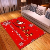 Joyeux Noël rouge gros tapis tapis tapis tapis tapis tables tasses enfants chambre de chevet Santa Claus elk dessin animé salle de séjour tapis1