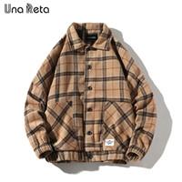 Una Reta Ceket Erkekler Sonbahar Casual Yeni Yün ekose Coat ceketler Man Hip Hop Erkek Vintage tek Kabanlar Streetwear 201.119 göğüslü