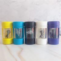 LED Glow Kavanoz Depolama Konteyner 7 Renkler 12.5 * 6.5mm Büyüteç Stash Glow Mag Kavanoz Ile Öğütücü Sigara Boru Toptan
